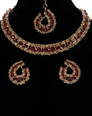Elegant Champagne Crystal Collar Necklace & Studs NGNC11462C