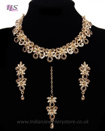 Elegant Champagne & Clear Crystal Indian Collar Necklace Set NGNC11463