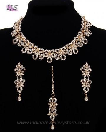 Elegant White Crystal Indian Collar Necklace Set NGWC11464