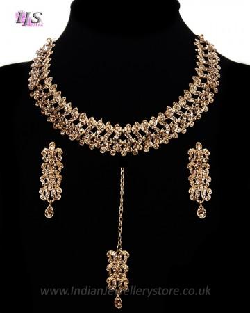 Elegant Antique Crystal Asian Jewellery Set NGNC11466