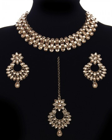 Antique Elegant Indian Choker Jewellery Set - Champagne NANL11483