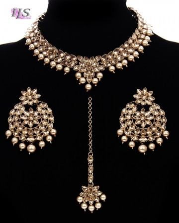 Antique Gold, Delicate Indian Choker with Statement Earrings NANL11485
