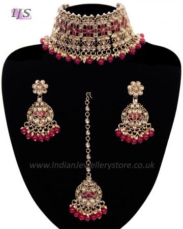 Asian Fashion Wide-Choker Jewellery Set - blood red NARK11517