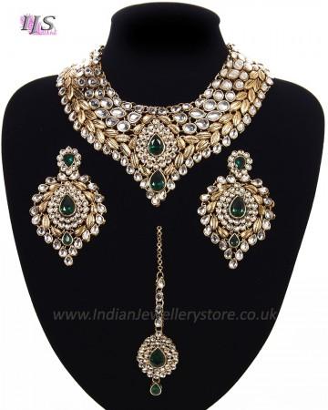 Statement Kundan Collar Necklace Set - bottle green NAGK11522