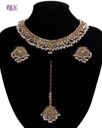 Antique American Diamond Choker, Stud Earrings & Tikka - pastel pink NAPA11530