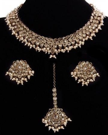 Antique American Diamond Choker, Stud Earrings & Tikka NANA11533C