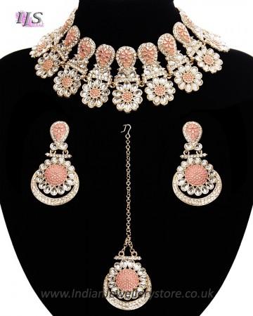 Statement Floral Indian Kundan Necklace Jewellery Set - peach LAPK11541