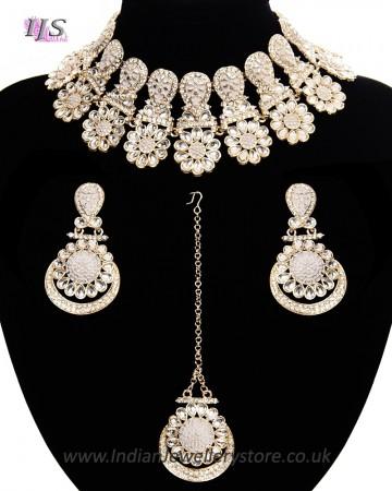 Statement Floral Indian Kundan Necklace Jewellery Set - white LAWK11543