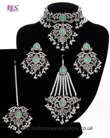 Silver Mughal Princess Indian Jewellery Set - Choker, Ear, Tikka & Jhumar NSWC11562C