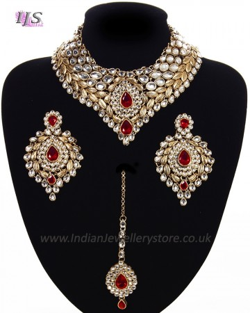 Statement Kundan Collar Necklace Set - white NAWK11565C