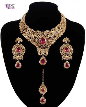 Statement Crystal Indian Jewellery Set - fuchsia pink NAPC11644