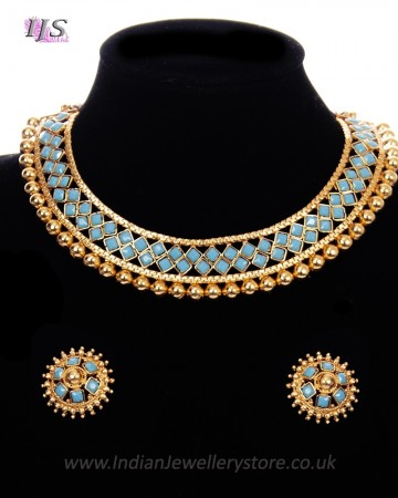 Traditional Indian Collar Necklace & Stud Earrings NENP11654C