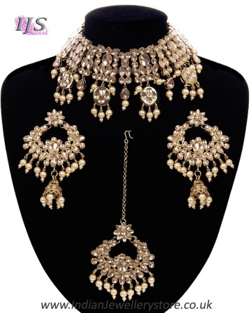 Wide Asian Indian Choker Set - gold champagne NANK11662