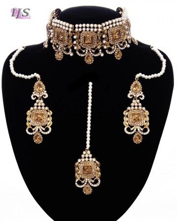 Antique Traditional Pakistani Pearl Choker Set NANC11679