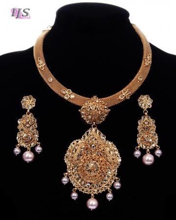 Designer 22k Gold Plated Peal Collar Necklace Set NEWP11689