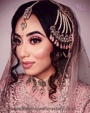 Pakistani Bridal Choker Set & Pearl Jhumar NANL11715C