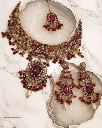 Pearl Red Flower Necklace Set NARP0336