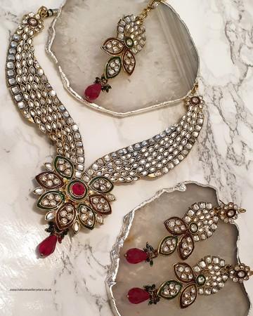 Kundan Flower Necklace Set NARP0328