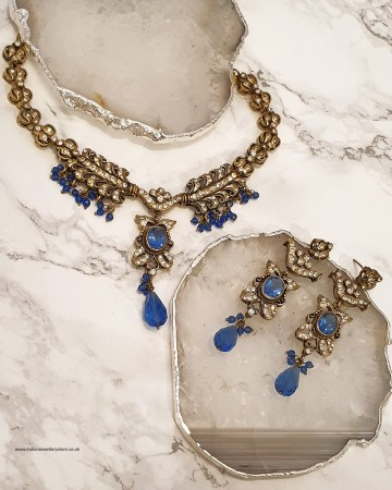 Light Royal Blue Light Antique Gold Necklace Set NANC0451