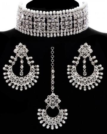 High Quality Silver Indian Wide Choker Jewellery Set NSWA11768