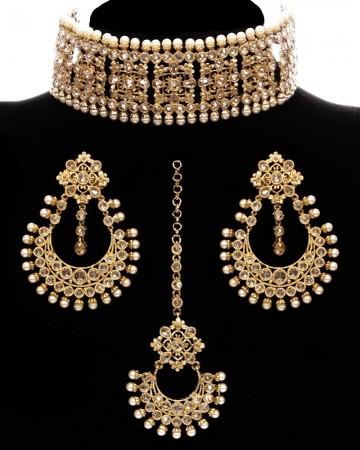 Light Gold, Champagne American Diamond Wide Choker Set NANA11770