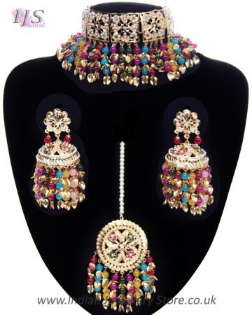 Multi-coloured Jadau Jewellery Set NGMP11786