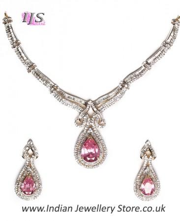 Fine American Diamond Baby Pink Necklace Set NGPA04723