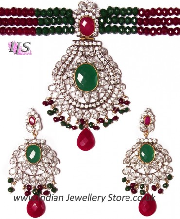 Indian Large Beaded Choker Set NSMA04110