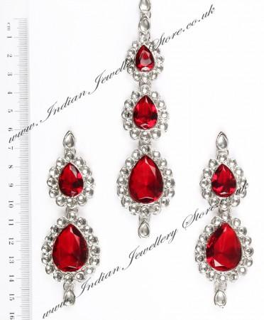 Sweety Kundan Earrings and Wide Tikka Set ISRK04852