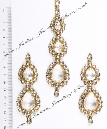 Sweety Kundan Earrings and Wide Tikka Set IAWK04855