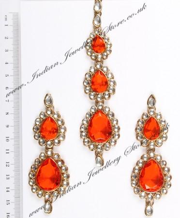 Sweety Kundan Earrings and Wide Tikka Set IAOK04856