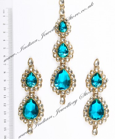 Sweety Kundan Earrings and Wide Tikka Set IALK04858