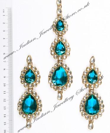 Sweety Kundan Earrings and Wide Tikka Set IALK04859