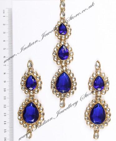 Sweety Kundan Earrings and Wide Tikka Set IALK04860