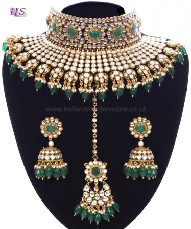 Green Sabyasachi Inspired Bridal Jewellery Set NEGK11157