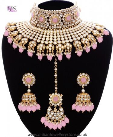 Baby Pink Sabyasachi Inspired Kundan Indian Bridal Jewellery Set