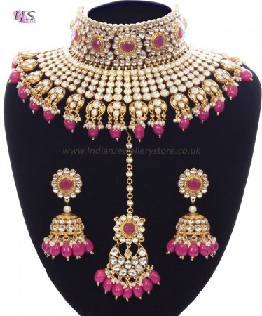 Rani Pink Sabyasachi Inspired Bridal Jewellery Set NEPK11158