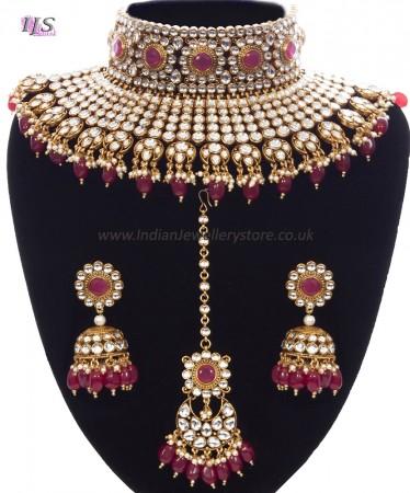 Ruby Maroon Sabyasachi Inspired Bridal Jewellery Set NERK11159