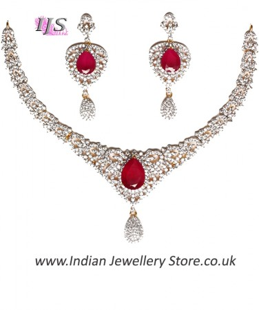 Fine American Diamond Necklace Set NGRA04722