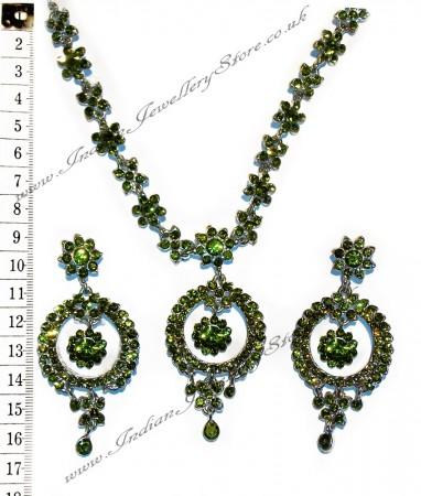 Green crystal necklace set NSGC0862