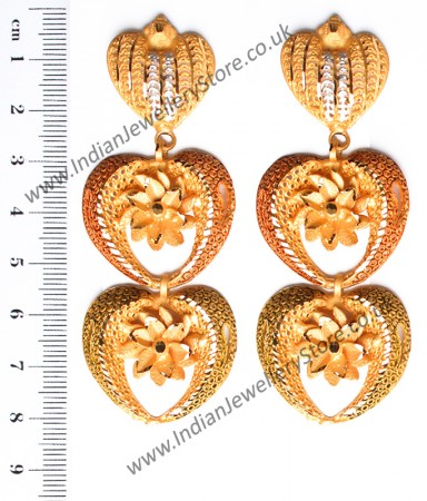 Large Matt Gold 22k Effect Flower Earrings EEWN10381