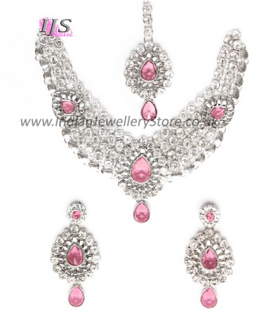 Silver Crystal Necklace Set - Katie NSWC10756C