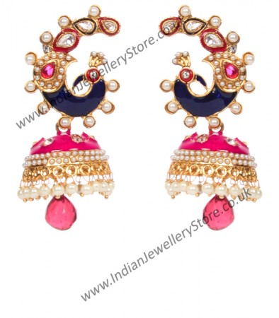 Large Peacock Multi Coloured Jhumka EGPL10347