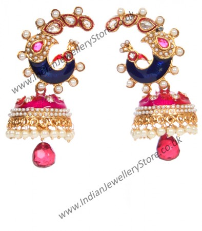 Large Peacock Multi Coloured Jhumka EGPL10348