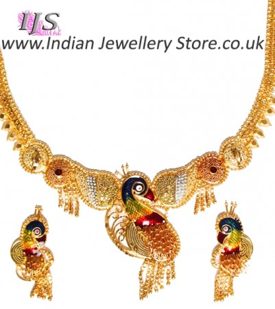 22k Effect Peacock Necklace Set NGMP04702