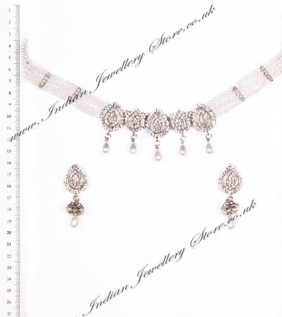 Silver & Pearl Choker Necklace & Delicate Jhumki Earring Set NSWC03655