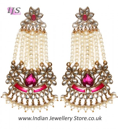 Large Mughal Princess Kundan Earrings EAUK04410C