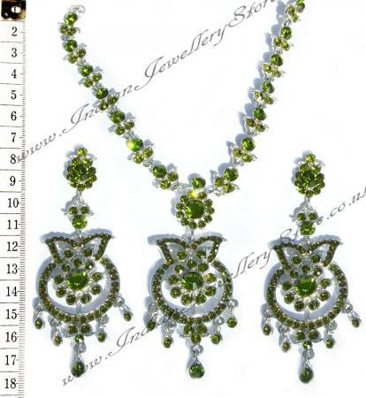 Green crystal necklace set NSGC0860