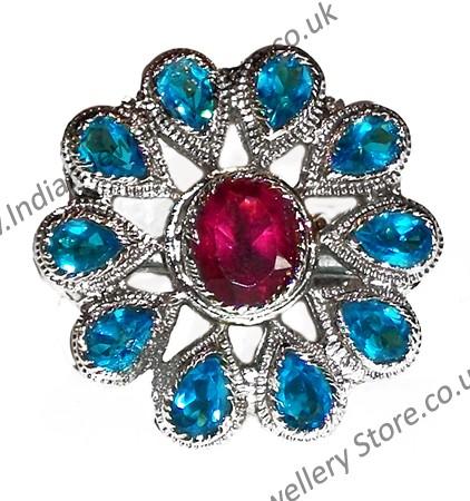 Large Indian Flower Ring RSLA10310