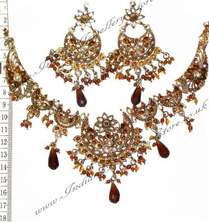 Brown Necklace Set NANP02360